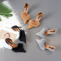 Wholesale Feathered Hair Cuts - New Women's Shoes High Heels sweet style plush high heels rabbit's hair lady autumn casual shoes