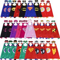 Wholesale Dress Super Sexy - wholesale DOUBLE LAYER 70*70CM cape halloween fancy dress spiderman costume superhero capes with felt masks for kids christmas gift