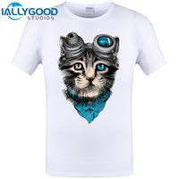 Wholesale Cheapest Branded Shirts - Cute Space Cat Funny Design Animal T-Shirt Cheapest Brand Clothing Hipster Men T Shirt Plus Size Cool Tops Tee Free Shipping 6XL