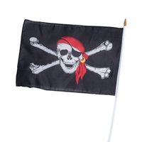 Wholesale pirate black flag - Pirate Skull Flags Multi Function Masquerade Halloween Haunted House Black Decorative Appliances Chemical Fiber Cloth Flag 1 98qk J R