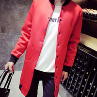 Wholesale Long White Trench Coats - british style single breasted trench coat men fashion color block black white red trench coat neoprene men long coats