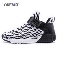 Wholesale zebra high boots - Onemix Mens Winter Warm Shoes for Men 2018 High Top Sports Outdoor Running Shoes Man Black Leisure Zebra Athletic Trainers Walking Sneakers