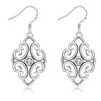 Wholesale Long Earrings Shape - Leaf Shape Inlaid Crystal Dangle Earrings for Girl Women Long Drop CZ Zricon Fashion Jewelry Bridal Earring Best Gift for Gril Friend