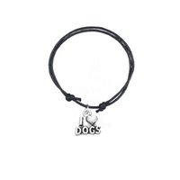 Wholesale dog cord - New Design Antique Silver Plated Colorful Wax Cord Bracelet Connector Charm I Love Dogs Bracelet