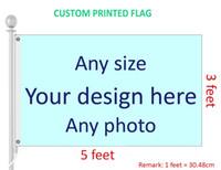 özel dijital baskılar toptan satış-3x5 Ayaklar Özel Bayrak ve Afiş Herhangi Bir Logo Herhangi Bir Renk 100D Polyester Dijital Baskı w / mil kapak Grommets