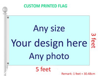 Wholesale flag logos - 3x5 Feet Custom Flag and Banner, Any Logo Any Color, white shaft cover and 2 side Grommet