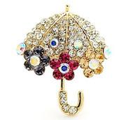 Wholesale Umbrella Brooch Pin - Bling Rhinestone Crystal Umbrella Brooch Decorative Garment Accessories Wedding Bridal Brooch Pin