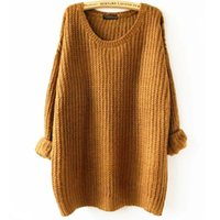 Wholesale Oversized Yellow Sweater - Oversized Sweater Autumn winter sweaters women pull femme knitwear long sleeve o-neck long pullover 2016 tricot