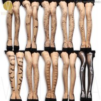 Wholesale Tattoo Legging Tights - Wholesale-TATTOO PATTERN TIGHTS - 20D Women's Fashion Style Design Cute Sexy Leg Fake Print Sheer Nude Thin Spandex Stockings Pantyhose