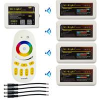 hub 12v al por mayor-Milight WIFI Hub + 4pcs 2.4G Grupo RGBW LED Controlador + RF Touch Controles remotos para 2.4G RGBW RGB LED Tira Bombilla Lámpara DC 12V 24V