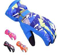 Wholesale Boys Waterproof Ski Gloves - adult Children Warm Ski Gloves Boy Girls Outdoor Sports Waterproof Snow Mittens Cycling Outdoor Sports Gloves KKA3270