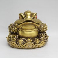 Wholesale Brass Toad - China Brass Copper Fengshui Lucky Yuanbao Wealth Money Frog Golden toad Statue home decoration