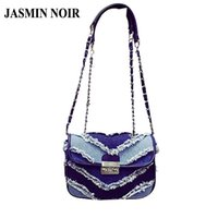 Wholesale Blue Jeans Cover - Wholesale-New 2016 Korean Brand Designer Denim Women Crossbody Bag lock small jeans cowboy chain bag over Shoulder Messenger Bag