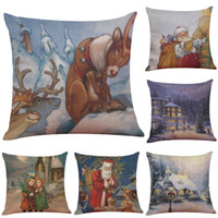 Wholesale 18 Snow - Warm Christmas Snow View Linen Cushion Cover Home Office Sofa Square Pillow Case Decorative Cushion Covers Pillowcases Without Insert(18*18)