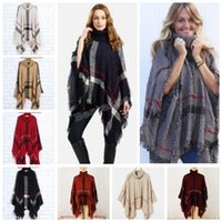 Wholesale Vintage Shawl Sweater - Plaid Poncho Scarf Tassel Fashion Wraps Women Vintage Knit Scarves Tartan Winter Cape Grid Shawl Cardigan Blankets Cloak Coat Sweater A3030