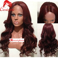 Wholesale 99j Lace Fronts - 99j Middle Part Lace Front Wig Body Wave Unprocessed Virgin Brazilian Full Lace Wigs with Baby Hair Burgundy Wavy Human Hair Lace Wigs