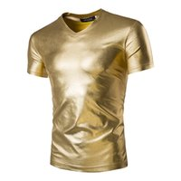 Wholesale Stylish Tshirts - Wholesale-Mens Trend Night Club Coated Metallic Gold Silver T-Shirts Stylish Shiny Short Sleeves Tshirts Tees For Men