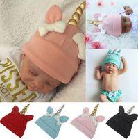 Wholesale Crochet Cartoon Beanies - Baby unicorn hats Winter newborn Bow Hats Warm cartoon unicorn Caps Warm Unicorn Beanie Hat Infant Kid Crochet Knit Cap KKA3148