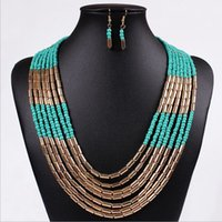 Wholesale Bead Jewerly - New arrive High quality Summer jewerly major suit jewelry Bohemia style hand woven multilayered Beads Necklace   sets of chain