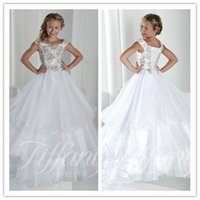 Wholesale Dresses Exquisite Flower - White Flower Girl Dresses Strap Exquisite Beaded Little Girls Pageant Wedding Birthday Ball Gown Custom Made