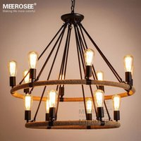 Wholesale Vintage Hanging Light Fixtures - American style pendant lighting fixture 2 Rings Vintage Antique suspension lamp Edision E27 bulbs hanging light for Dining room