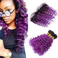 ombre malaysian purple hair 도매-레이스 정면 폐쇄 1B 옴 브레 말레이시아 깊은 웨이브 헤어 번들 보라색 옹 브르 곱슬 인간 머리카락과 정면 어두운 뿌리 바이올렛 헤어