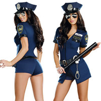 Wholesale Officer Police Costume - Women's Police Officer Costume Uniform Halloween Adult Cop Cosplay Slim Dress For Women For Free Shipping