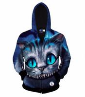 tierdruck-sweatshirts für frauen großhandel-Neue Art Herbst Winter Mode Hoodies für Männer / Frauen 3d Sweatshirt drucken Tier Cheshire Cat Kapuzen Hoody