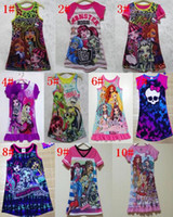 Wholesale Girls Sleeveless Dress Tops - 10 Styles Girls Summer New Monster high Sleeveless vest skirt Dresses princess dress Baby Clothes 4 p l