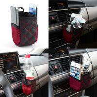 airbag zubehör großhandel-Auto Auto Rotwein Farbe Net Aufbewahrungstasche Handytasche Auto Organizer Airvent Air Vent hängen Aufbewahrungstasche Halter Zubehör