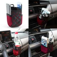 bolsillo para telefono al por mayor-Auto Car Red Wine Color Net Bolsa de almacenamiento del teléfono móvil Organizador del coche de bolsillo Airvent Ventilación de aire colgando Bolsa de almacenamiento de accesorios