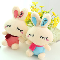 Wholesale Love Rabbit Pillow - 18cm Pink Blue Smile Super Love Rabbit Plush Toy Staffed Rabbit Doll Pillow Valentine's Day Gift