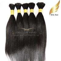 trenzado de cabello mezclado al por mayor-Pelo granel 100% pelo humano brasileño sin procesar cabello humano natural 100 g / pieza natural color sedoso extensiones de cabello humano recto