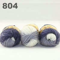 Wholesale Hand Dyed Scarves - colorful hand-knitted wool line segment dyed coarse lines fancy knitting hats scarves thick line Light Grey White Blue 522-804