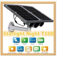 Wholesale Solar Powered Ip Camera Wireless - HW0029-3 Gen Solar Power Starlight IP Camera Onvif Wireless WiFi 720P HD 8mm Lens Night Vision 100m Network Waterproof Remote View