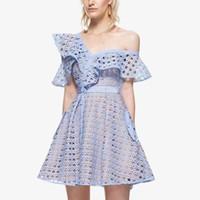 robes de club au crochet sexy achat en gros de-2017 nouvelle conception femmes sexy party club unique épaule hors épaule volants dentelle à manches courtes crochet floral creux robe à taille haute