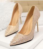 grey silver high heels NZ - New Fashion Sexy Women Silver Rhinestone Wedding Shoes Platform Pumps High Heels Crystal Shoes Gold Black Pink