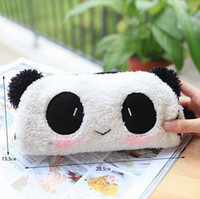 Wholesale Cute Cartoon Panda Pencil Case - Wholesale-New Arrival Cute Cartoon Plush Panda Pencil Case High Quality Comfortable Cotton Pencil Bag Stationery For School Students