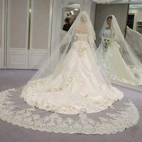 Wholesale 2t Long Veils - velos de novia 3 Meters 2T White&Ivory Sequins Blings Sparkling Lace Edge Purfle Long Cathedral Wedding Veils