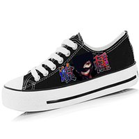 Grossiste-Cartoon Tokyo Ghoul hommes unisexes femmes chaussures peintes à la main Low Top Lace-Up Anime une pièce Boys Girls Graffiti respirant chaussures