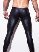 Wholesale Skin Hot Pants - Wholesale-HOT Low-rise Bulge Pouch Night Club Stage Performance Tights N2N Bodywear Pants Men's Sexy Faux Leather Leggings Black Skin