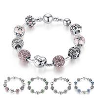 розовые браслеты оптовых-Горячий стиль прекрасный Тибетский серебряные бусины браслет Pandora подвески стеклянные бусины DIY бисером пряди браслет розовый белый синий зеленый 4 цвета опционально