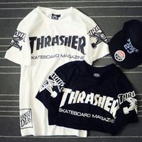 Wholesale Cotton Fashion Shorts - 2016 New arrival men thrasher t shirt fitness hip hop fashion brand short sleeve shirts mens tops couple clothing tshirt homme