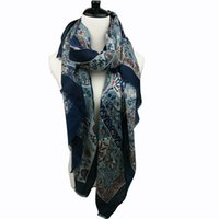 Wholesale Wholesale Bird Print Scarves - New arrival paisley birds printing winter cotton scarf 2016 women soft wraps fashionable black and navy colors 10pcs lot
