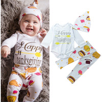 Wholesale Newborn Baby Food - Newborn Infant baby boy girl Thanksgiving Day cotton Romper+ deer pants+Hat Baby boys girls Bodysuits outfits food pattern cute kid clothing