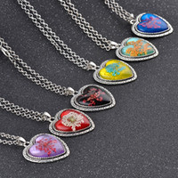 Wholesale vintage dried flowers - 6 Colors Heart Shape Glass Necklaces Natural Real Dried Flower Plant Necklaces Women Accessories Vintage Sweater Chain