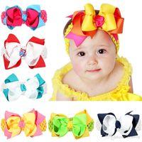 "Wholesale Layer Ribbon Bow - Newest Baby Headbands Big Bows Double Layers Baby Kids 5"" big Grosgrain Ribbon Bowknot Wide Crochet Headband girls hair accessories KHA186"