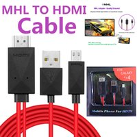 Wholesale Mhl Cables - HDMI Cable Full HD 1080P Micro USB MHL (11pin) To HDMI Adapter Converter Mobile Phone Digital Cable For samsung Galaxy S4 Note2 With Package