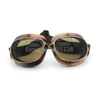 Wholesale Open Helmet Jet - New Motocross Goggles Glasses Copper Plated Frame Vintage Harley Open Face Helmet Goggles Glass Retro Jet Helmet