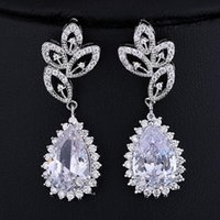 Wholesale Weddin Gift - Dangling earrings LUXURY flashing BRIDAL jewelry AAA CZ ZIRON water drop Dangling earrings Jewelry For Women gift PARTY WEDDIN